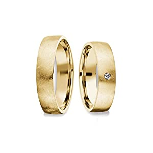Eheringe Trauringe Gold Set AMOONIC mit Zirkonia Freundschaftsringe Paarpreis Verlobungsringe Partnerringe Silber hochwertig vergoldet Ringpaar Hochzeitsringe Eheringe 5mm FF379VGGGZIFA-P
