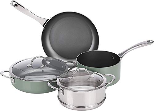 Amazon Basics 6 Pezzi Batteria da Cucina Antiaderenti a Induzione - Acciaio Inox - Pistacchio