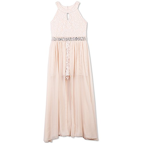 Speechless Big Girls High Neck Maxi Romper Dress, Pale Blush, 14