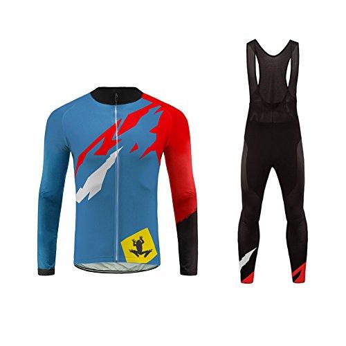 Uglyfrog Wear Designs Ropa Otoño Conjunta de Ciclismo de Hombre Bodies- Ciclismo Maillot Jersey +Long Bib Pantalones