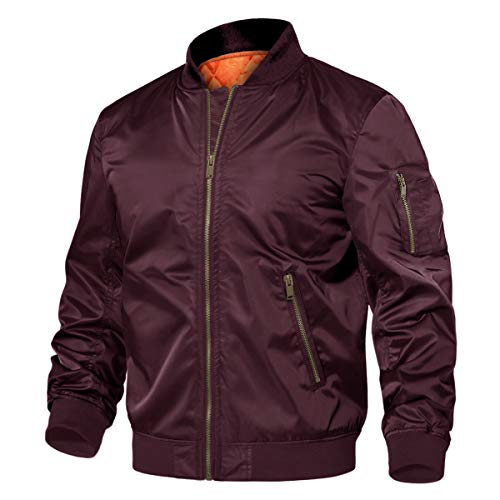 TACVASEN Men's Jackets-Windproof Flight Bomber Jacket Casual Padded Coats (Wine Red XL)