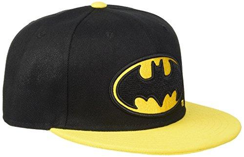 Casquette Batman Noire Logo et Visière Plate Jaune