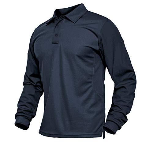 TACVASEN Herren Langarmshirts Atmungsaktiv Golf Freizeitshirts Poloshirts Outdoorshirts mit 3-Knopfleiste, Navy Blau, L