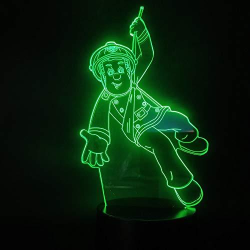 USB 3D-Lamp Peoples Hero Brandweerman Sam 3Aa Op Batterijen Werkende Heldere Basis voor Led-Nachtverlichting voor Binnen