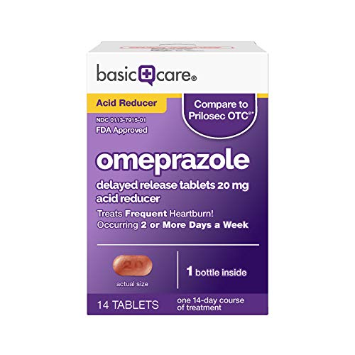 Amazon Basic Care Omeprazole Delayed Release Tablets 20 mg Acid Reducer Treats Frequent Heartburn 14 Count