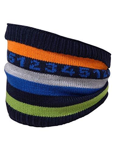 maximo Baby-Jungen Tube mit smile und Pompon Schal, Blau (Navy 48), (Herstellergröße: One Size)