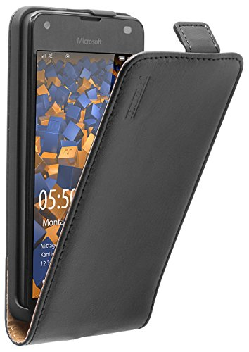 mumbi Echt Leder Flip Case kompatibel mit Microsoft Lumia 550 Hülle Leder Tasche Case Wallet, schwarz