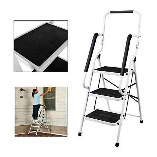 3 Stufen Klappleiter mit Handlauf Trittleiter Klappbar Tragbare kompakte Leiter Rutschfeste Matte Einfache Aufbewahrung Stehleiter für Home Kitchen Office DIY 150 kg max Belastung