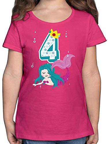 Geburtstag Kind - Meerjungfrau 4. Geburtstag - 104 (3/4 Jahre) - Fuchsia - meerjungfrau Shirt Kinder - F131K - Mädchen Kinder T-Shirt