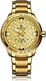 Naviforce NF9090 Fashion Men Quart Watch Luxury Stainless Steel - Gold