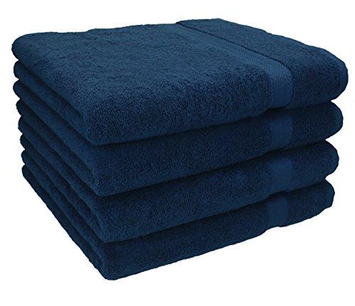 Betz 4 Stück Handtücher Premium 100% Baumwolle 4 Handtücher Farbe dunkelblau