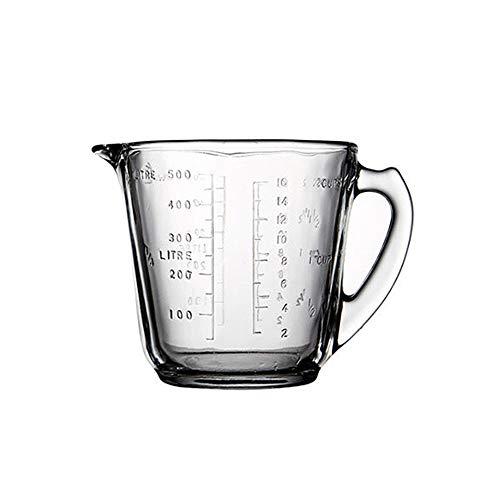 HARVESTFLY Messbecher aus Glas 500ml, ML, Cup und OZ 3 Waagen, Perfekt zum Backen und Kochen, Measuring Cup, Messkanne (500ml)
