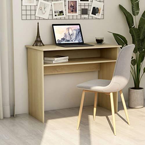 vidaXL Escritorio de Ordenador Estudio Ejecutivo Oficina Despacho Mueble Duradera Robusta Estable de Aglomerado Color Roble Sonoma 90x50x74 cm