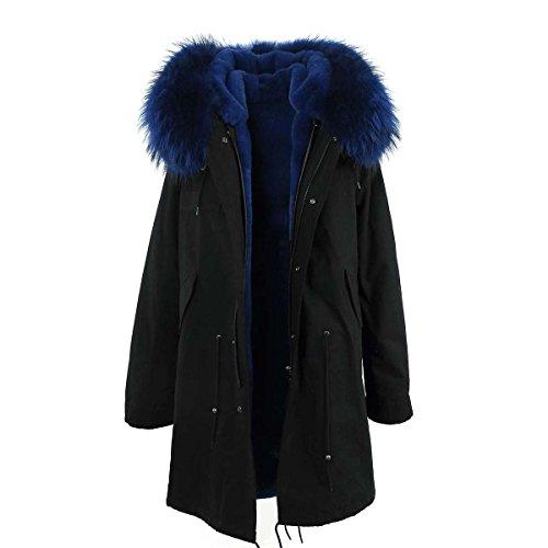 JAZZEVAR Damen Parka XXL Kragen Pelz ECHT Fell Jacke Mantel Schwarz 6 Farben (L/38, Blau)