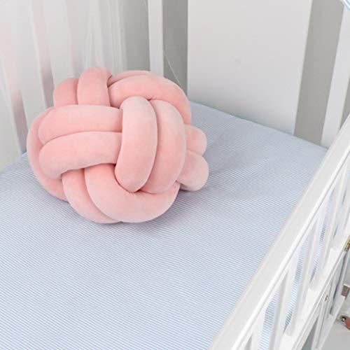 Sqiuxia - Almohada de terciopelo con nudo de bola suave, cojín decorativo para decoración del hogar, sofá o dormitorio (2 tamaños, 11 colores a elegir), algodón, 20, 03