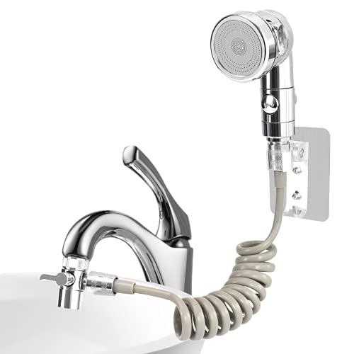 Set soffione doccia per lavabo, doccetta bagno, tubo telescopico, perfetto per lavare i capelli o pulire il lavandino (argento)