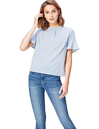 Marca Amazon - find. Blusa de Rayas para Mujer, Azul (Blue), 42, Label: L