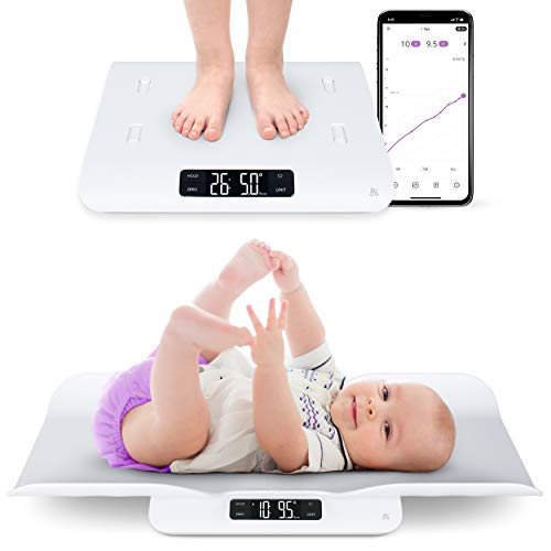 GreaterGoods Smart Baby Scale, Bluetooth Connected Device, Toddler Scale, Pet Scale, Infant Scale with Hold Function (White)