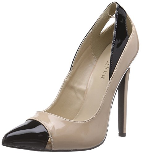 Pleaser Devious SEXY-22, Damen Pumps, Beige (Nude-Blk Pat), 38 EU (5 Damen UK)