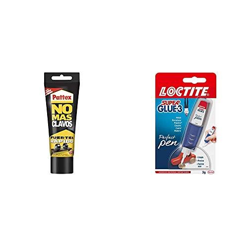 Pattex No Más Clavos Original - Adhesivo de Montaje Resistente, Pegamento Extrafuerte para Madera, Metal y más + Loctite Super Glue-3 Perfect Pen, adhesivo transparente con forma de bolígrafo