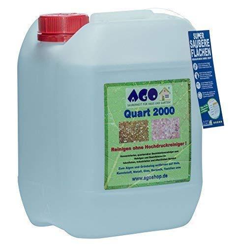AGO® Quart 2000 Grünbelag Entferner Chlor- und Säurefrei I 10L Flechten und Algen Entferner Konzentrat für 2000qm Fläche