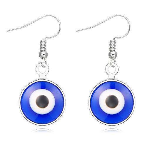 14k Gold Evil Eye Huggie Hoop Earrings,Dainty Tiny Turkish Enamel Blue Evil Eye Dangle Hoop Earrings for Women Lucky Jewelry