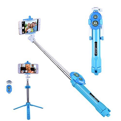 Bluetooth Selfie Stick, Alfort Selfie Stab Stativ mit Bluetooth Fernbedienung Mini Selfie-Stange für iPhone Samsung Huawei Xiaomi Redmi LG Sony usw iOS und Android SmartPhone bis 5.5 Zoll (Blau)