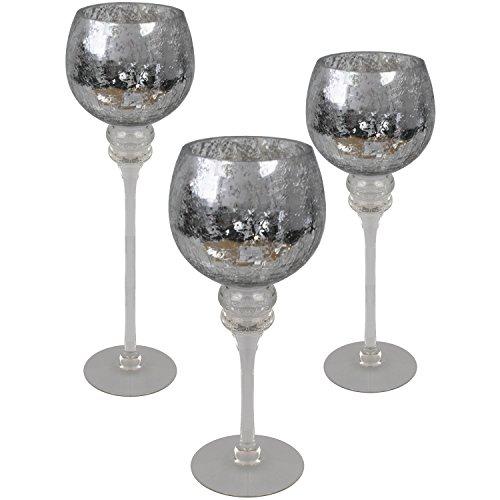 3tlg. Glaskelch Windlicht Set H40/35/30cm mit silbernen Kelch in Bruchglasoptik auf Fuß Kerzenhalter Kerzenleuchter Kerzenständer