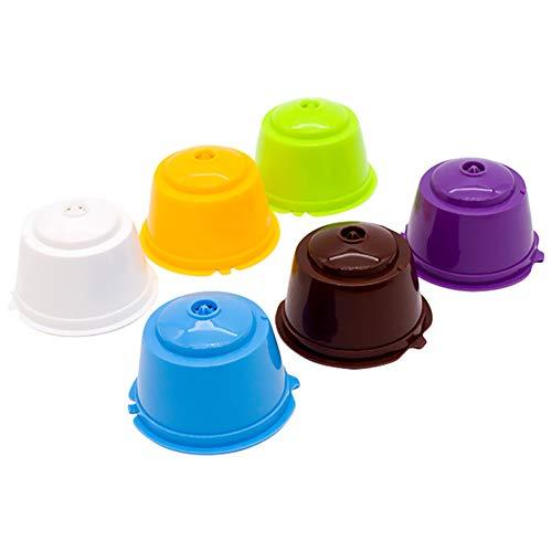 Dolce Gusto Kaffee Wiederverwendbare nachfüllbare Schoten 6-tlg mit Kompatible Filterbecher mit Schaumfunktion BPA-freie Kaffeepads für Dolce Gusto mit 2 Plastiklöffel und 2 Reinigungsbürste(6 Farben)