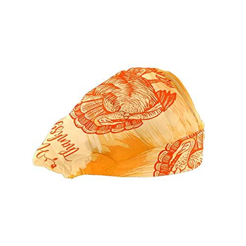 Gorra de mujer para cabello largo con banda elástica ajustable para el sudor Gorras de trabajo para hombres bufanda de cabeza impresa 3D sombreros Día de Acción de Gracias Turquía