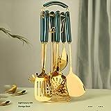 WZHZJ Utensilios de Cocina de Acero Inoxidable de Estilo nórdico, Juegos de Utensilios de Cocina, Mango de cerámica, Gancho de Almacenamiento, Cuchara de Pala de Metal