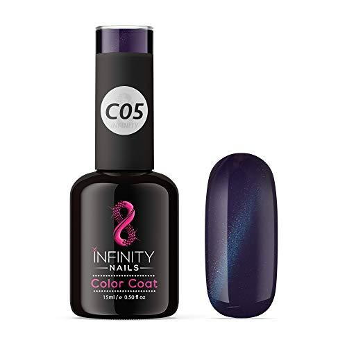 C05 infinity ongles œil de chat Noir métallique – Vernis à ongles gel – UV/LED – 15 ml
