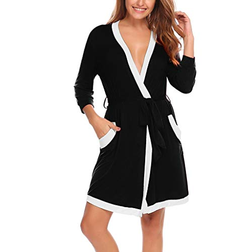 Eaylis Damen Dessous Sexy Lace Kimono Lightweight Bademantel Soft Sleepwear V-Neck Ladies Loungewear Frauen Nachthemd Unterwäsche