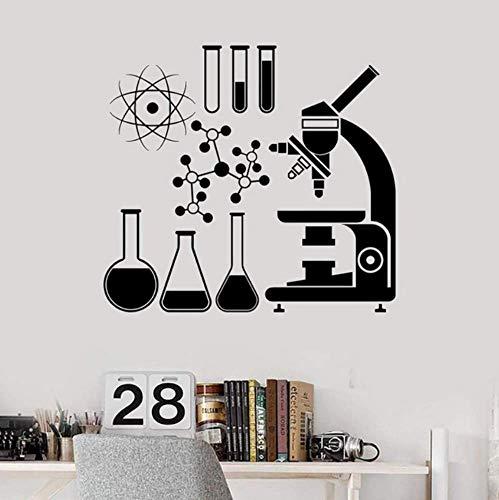 Microscopio Ciencia Científico Química Escuela Vinilo Tatuajes De Pared Decoración Para El Hogar Arte Mural Pegatinas De Pared Extraíbles 57X62Cm