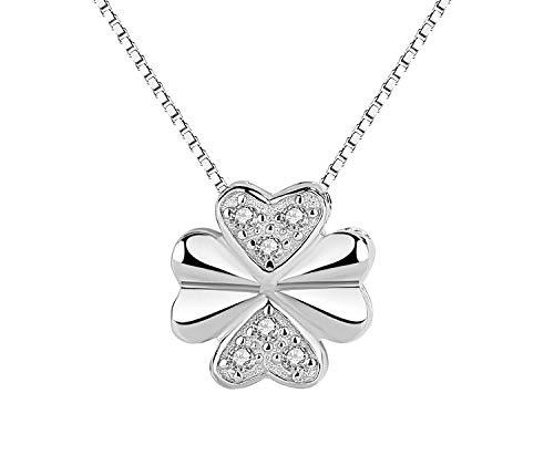 Likass Ms. 925 Sterling Silver Necklace Silver Pendant, La Mejor Opción para El Día De San Valentín, Regalo De Año Nuevo, Recuerdo De Aniversario,Símbolo De Amor-Trébol