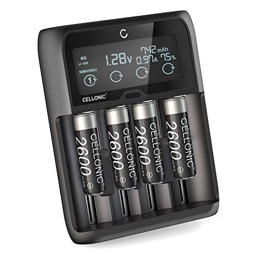 CELLONIC® 4x AA Batterij + USB C Lithium 18650 Batterijlader voor batterijen AAA AA LiFePo4 Batterijoplader met 4 kanaal Lader voor oplaadbare Batterijen Snellader display LR03 Lithium Acculader