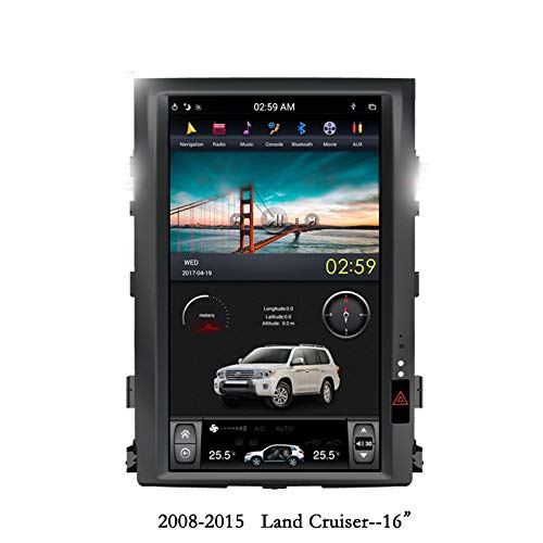 16' High End Quadcore Car Android DVD Player 1280x800 Tesla Style Vertical Screen Stereo GPS Navigation Head Unit Radio for Toyota Land Cruiser 2008-2015 Year (AUTO AC Control)
