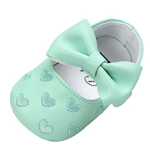 JERFER Baby Schuhe mädchen Bowknot-lederner Schuh-Turnschuh Anti-Rutsch weiches Solekleinkind für 0-18 Monate (12M, Grün)