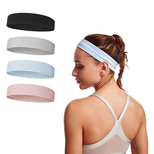 CHARS Sports Headband for Men and Women - 4 Pack Sweat-Wicking Head Band for Workout Fitness Yoga Exercise Tennis - Unisex Moisture Wicking Workout Sweatbands (4 Pack)