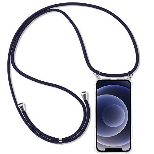 UYMO Handykette Kompatibel mit iPhone 12 Pro/12 Hülle- Stylische Kette Weich Silikon Schutzhülle mit Band Handyhülle zum Umhängen Kordel für iPhone 12/12 Pro 6.1 Zoll, Blau