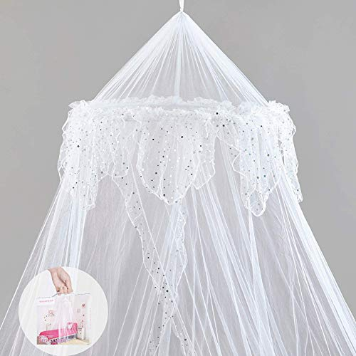Princess Bed Canopy - Beautiful Silver Sequined Childrens Bed Canopy in White - single bed