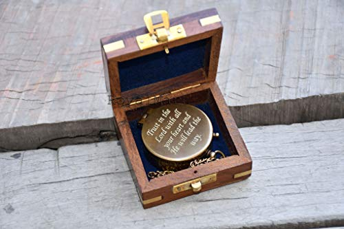 Engraved Compass Personalized Compass Antique Compass Custom Gift Brass Compass Gift for Graduation, Anniversary, Baptism, Retirement, or Christmas - Vintage Style Working Compass with Wooden Box