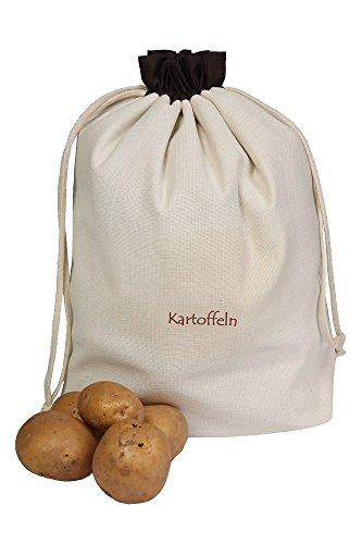 Gemüsebeutel aus Baumwolle, für Kartoffeln, praktisch und schön aufbewahren, schützt gegen Licht und Keimen, 36 x 37 cm