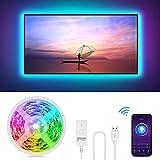 Tira Led TV, 2,8M Inteligente Luces LED Wifi USB Control de APP/Voz,16 Millones Colores, Funciona con Alexa/Google Home, Sincronización con Música, Retroiluminación LED RGB PC Monitor (40-60 Pulgada)