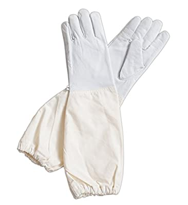 Forest Beekeeping Supply - Goatskin Leather Beekeeper's Glove with Long Canvas Sleeve & Elastic Cuff (M)