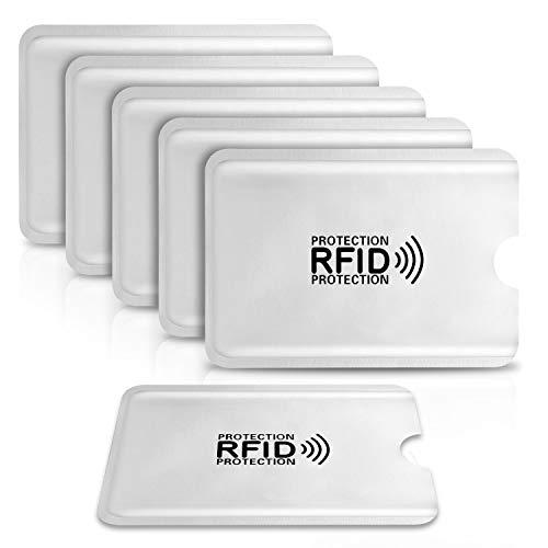 6 Pack PAMIYO Protector de Tarjetas de Credito RFDI, Protección 100% de NFC Bloqueo Blocker Card para Tarjeta de Crédito, Débito y Tarjeta de Identificación - Aluminio[6 Protectores Tarjeta Credito]