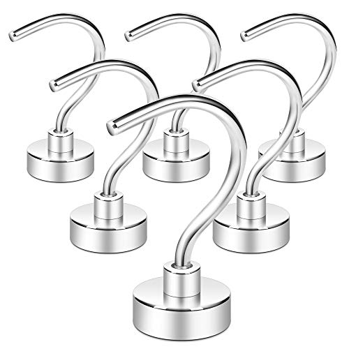 Neosmuk Magnetic Hooks, 35LBS Plus Large Opening Cruise Essentials Hook CNC Machined Base,Ideal for Grill,Towel,Kitchen Indoor Hanging (Silvery White, Pack of 6)