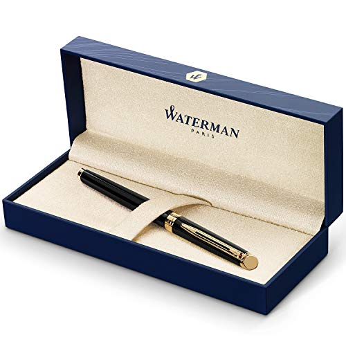 Waterman Hémisphère pluma estilográfica, con adorno de oro de 23quilates, plumín mediano con cartucho de tinta azul, estuche de regalo, color negro brillante