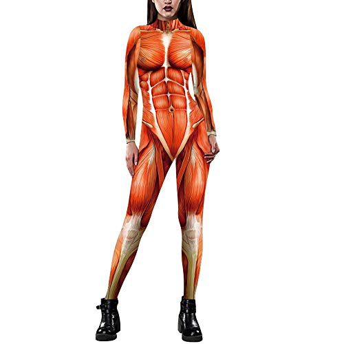 Designs Mujeres Adultos Halloween Carnaval Catsuit Outfits Cool 3D Graphic Impreso Cosplay Mono Disfraz Jumpsuit Stretch Skinny Party Playsuits Body Slim Fit,01-M