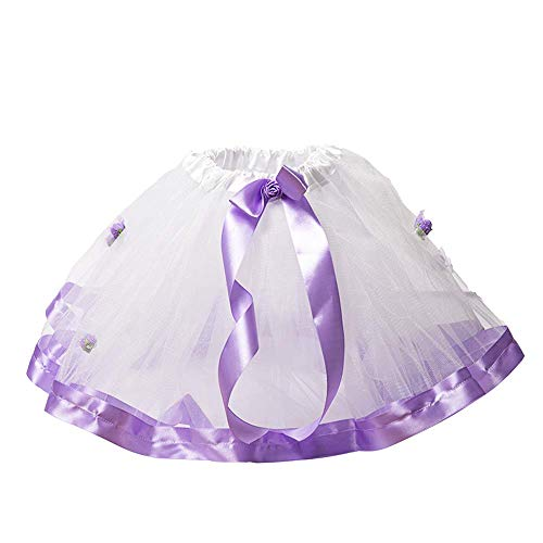 Wapakids Falda, tutus, Tull de ballet para niñas color blanco con violeta